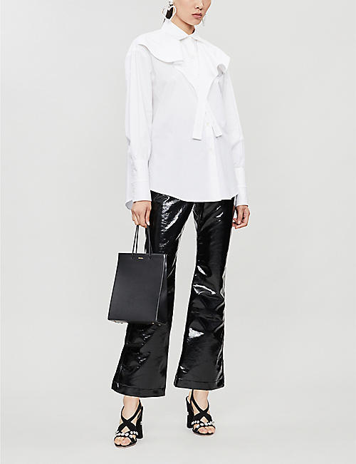 ELLERY Orthodox flared vinyl cotton-blend trousers