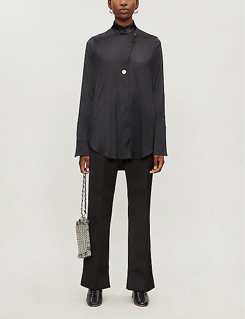 ELLERY Mona stand-collar silk-satin shirt
