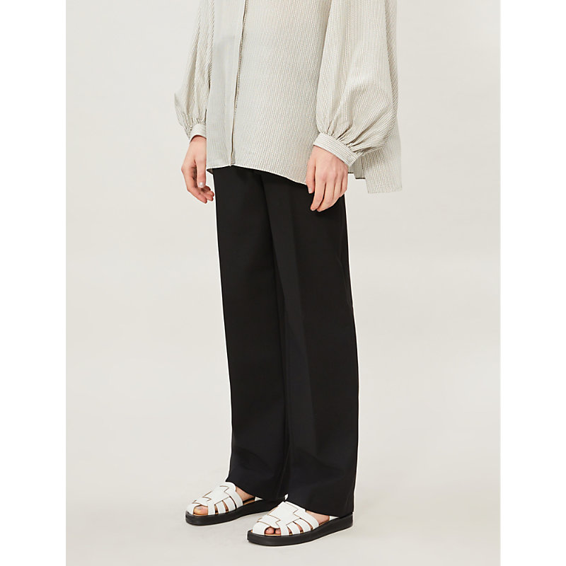 The Row Pants MATEA HIGH-RISE STRETCH-WOOL TROUSERS