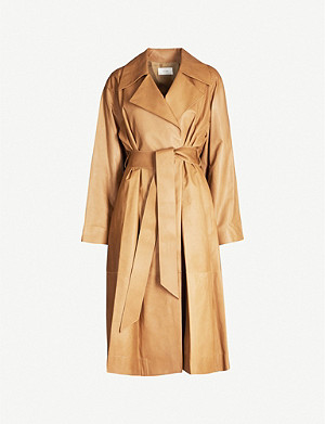 THE ROW Efo leather wrap coat