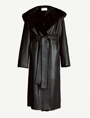 THE ROW Riona shearling waist-tie coat