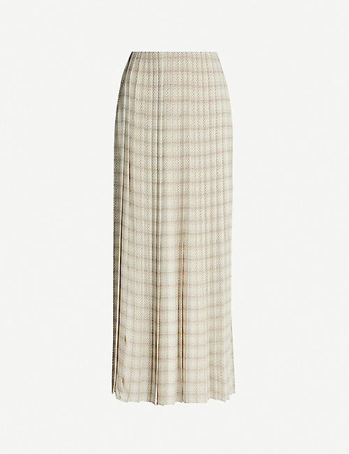 THE ROW Tulu checked silk-crepe midi skirt