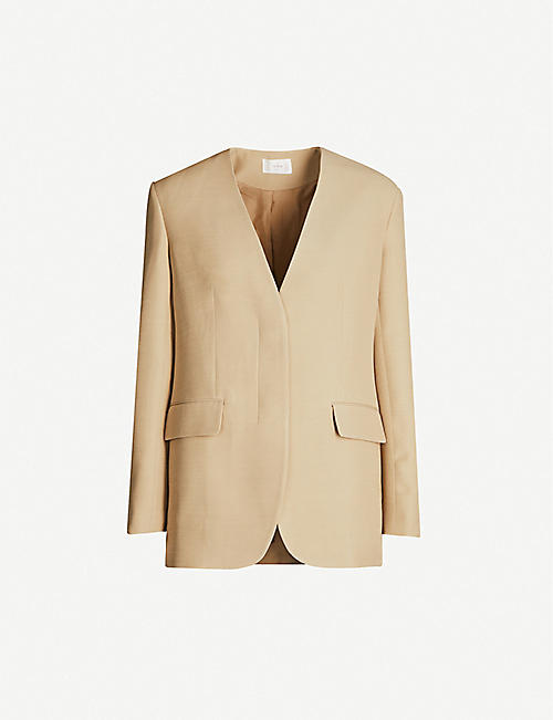 THE ROW Murray collarless wool-blend blazer