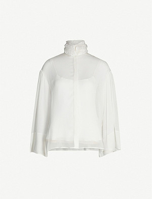 THE ROW Sarabee mandarin-collar woven shirt