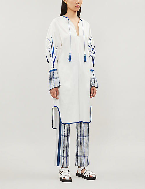 MAME KUROGOUCHI Embroidered relaxed-fit cotton-blend midi dress
