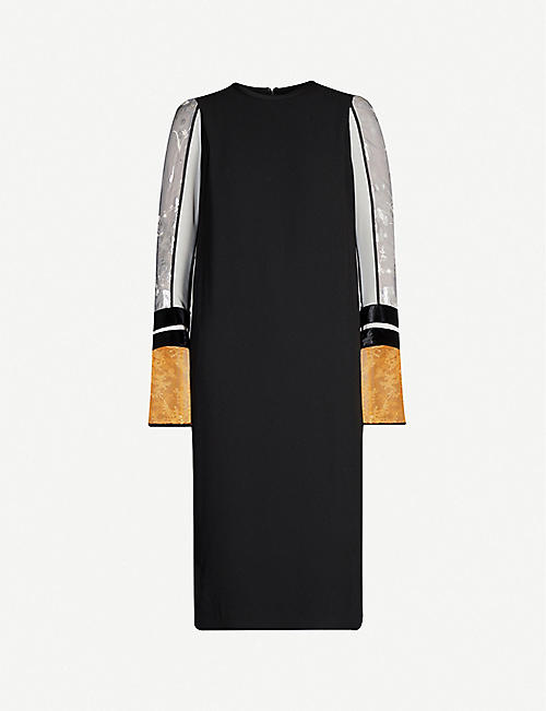 MAME KUROGOUCHI Contrast-sleeves woven midi dress