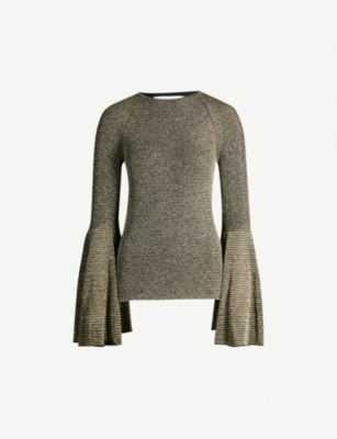 PRINGLE OF SCOTLAND Flared-sleeve metallic knitted top