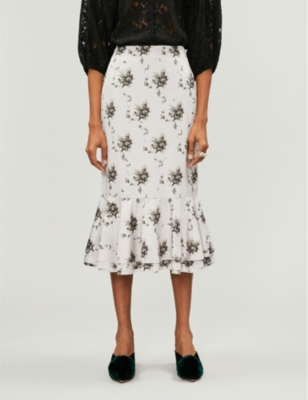 Brock Collection HIGH-RISE LACE KNEE-LENGTH SKIRT