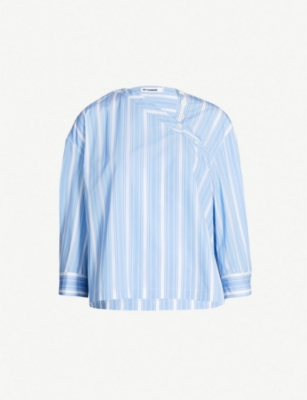JIL SANDER Striped asymmetric cotton shirt