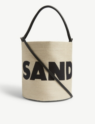 JIL SANDER Woven leather drawstring bucket bag