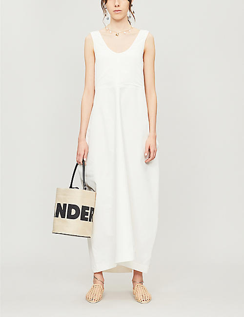 JIL SANDER Cotton and silk-blend sleeveless dress