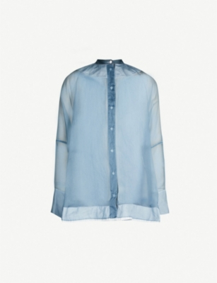 JIL SANDER Sheer silk and cotton shirt