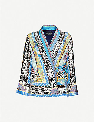 ETRO: Printed satin-jacquard wrap top