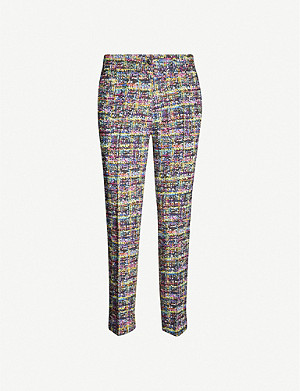 ETRO Graphic-print high-rise straight crepe trousers