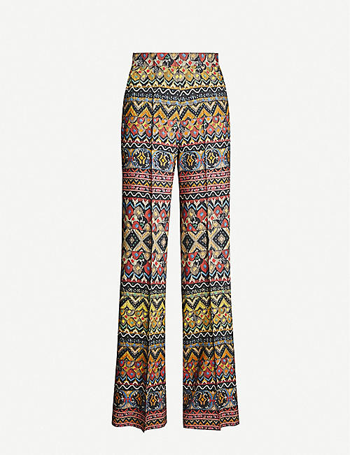 ETRO Graphic-print high-rise flared wool and silk-blend trousers