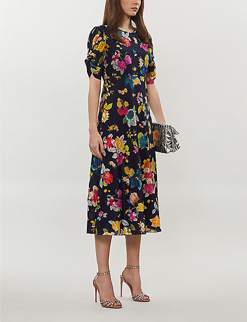 ETRO Floral-print flared stretch-silk midi dress