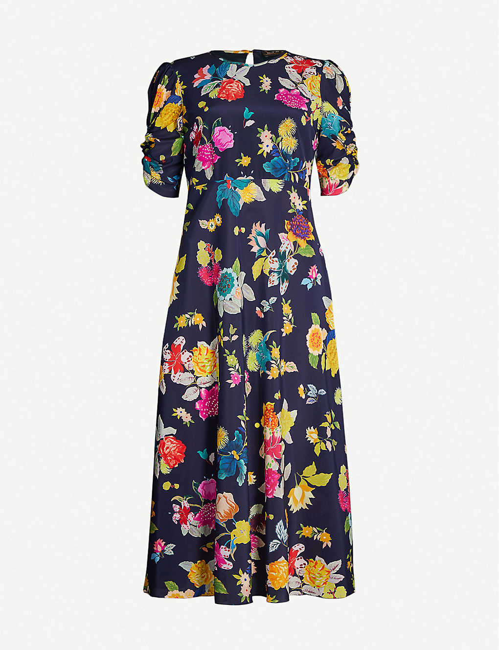 Etro Dress Floral-print flared stretch-silk midi dress