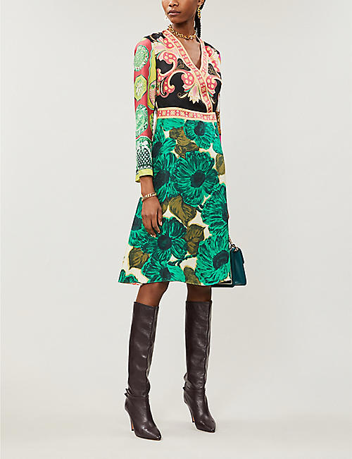 ETRO Printed silk-twill midi dress