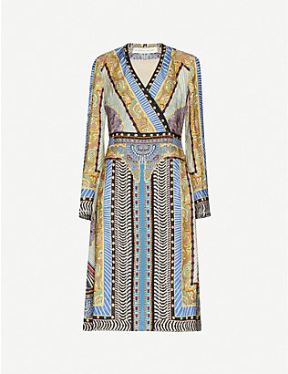 ETRO: Floral-print wrap-over woven midi wrap dress