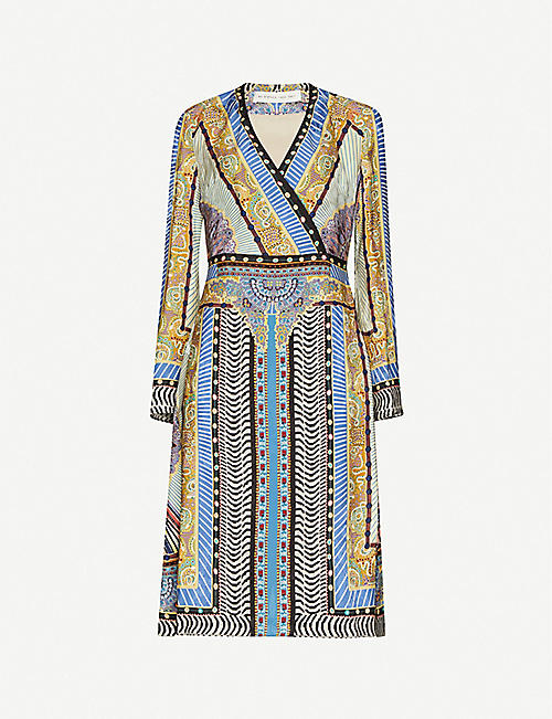 ETRO Floral-print wrap-over woven midi wrap dress