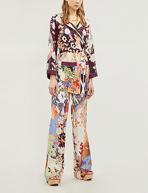 ETRO Floral-print tie-waist cotton-blend jacket