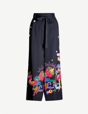 ETRO Floral-print crepe trousers