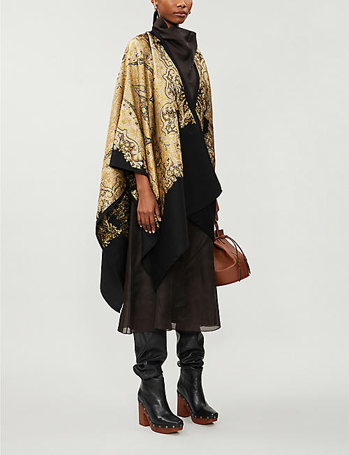 ETRO Paisley metallic-jacquard wool-blend cape