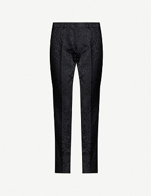 ETRO Cropped high-rise brocade straight-leg trousers