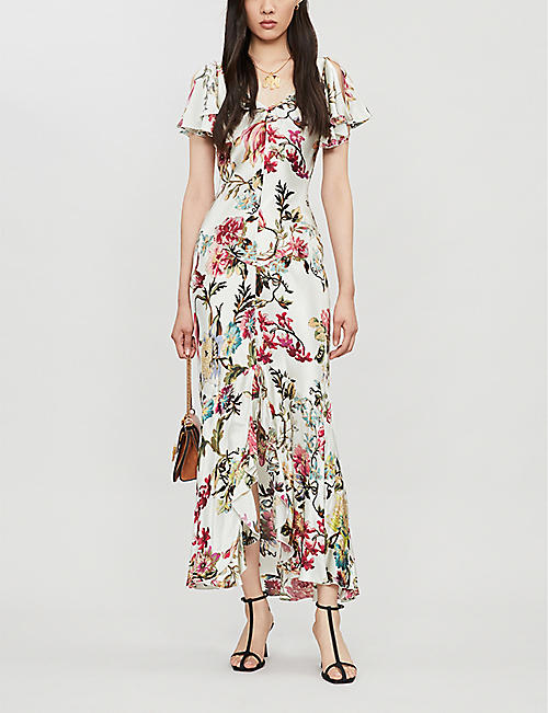 ETRO Flared floral-print satin maxi dress