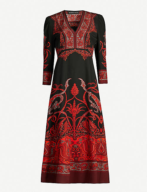 ETRO Suffolk floral-print V-neck silk midi dress