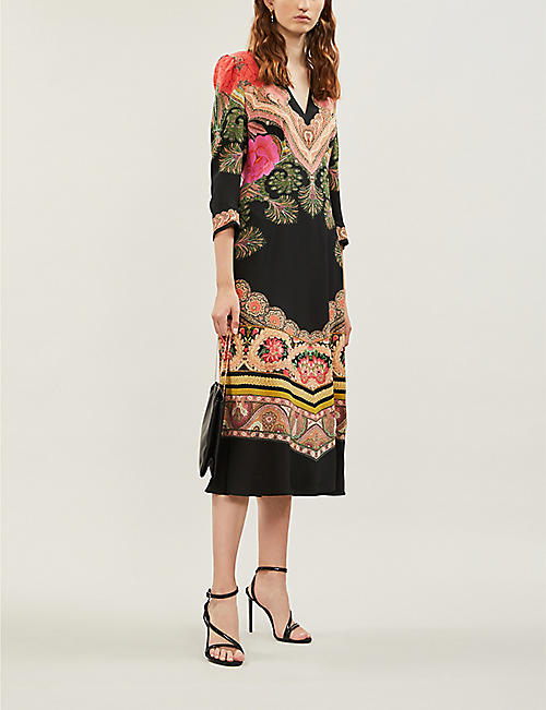 ETRO Abito floral-print V-neck silk midi dress