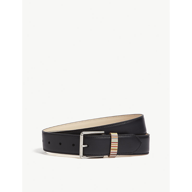 PAUL SMITH | Paul Smith Accessories Mens Black Striped Luxurious Belt, Size: 34 | Goxip