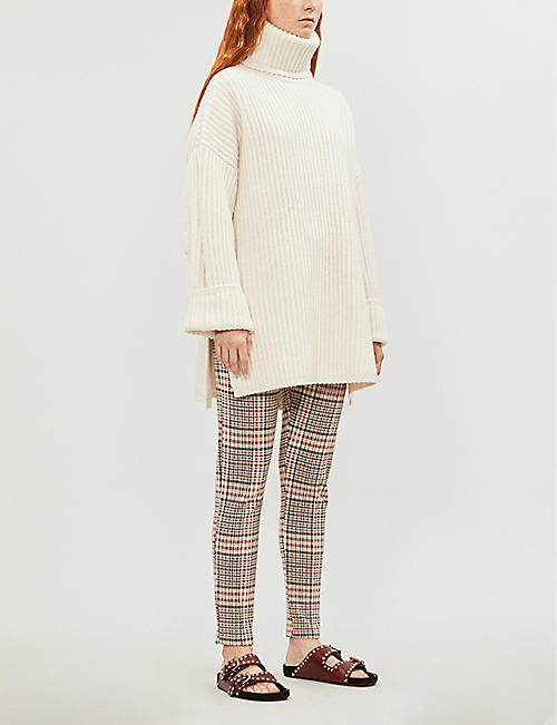0d72209c FREE PEOPLE Carnaby high-rise plaid stretch-knit skinny trousers