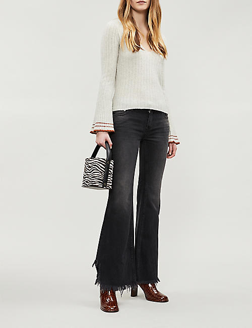 FREE PEOPLE Frayed-hem flared cropped mid-rise jeans