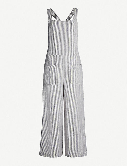 FREE PEOPLE Off the Shore striped linen-blend jumpsuit