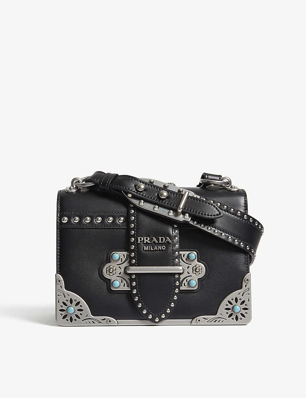 a8840520693b PRADA - Cahier studded leather shoulder bag | Selfridges.com
