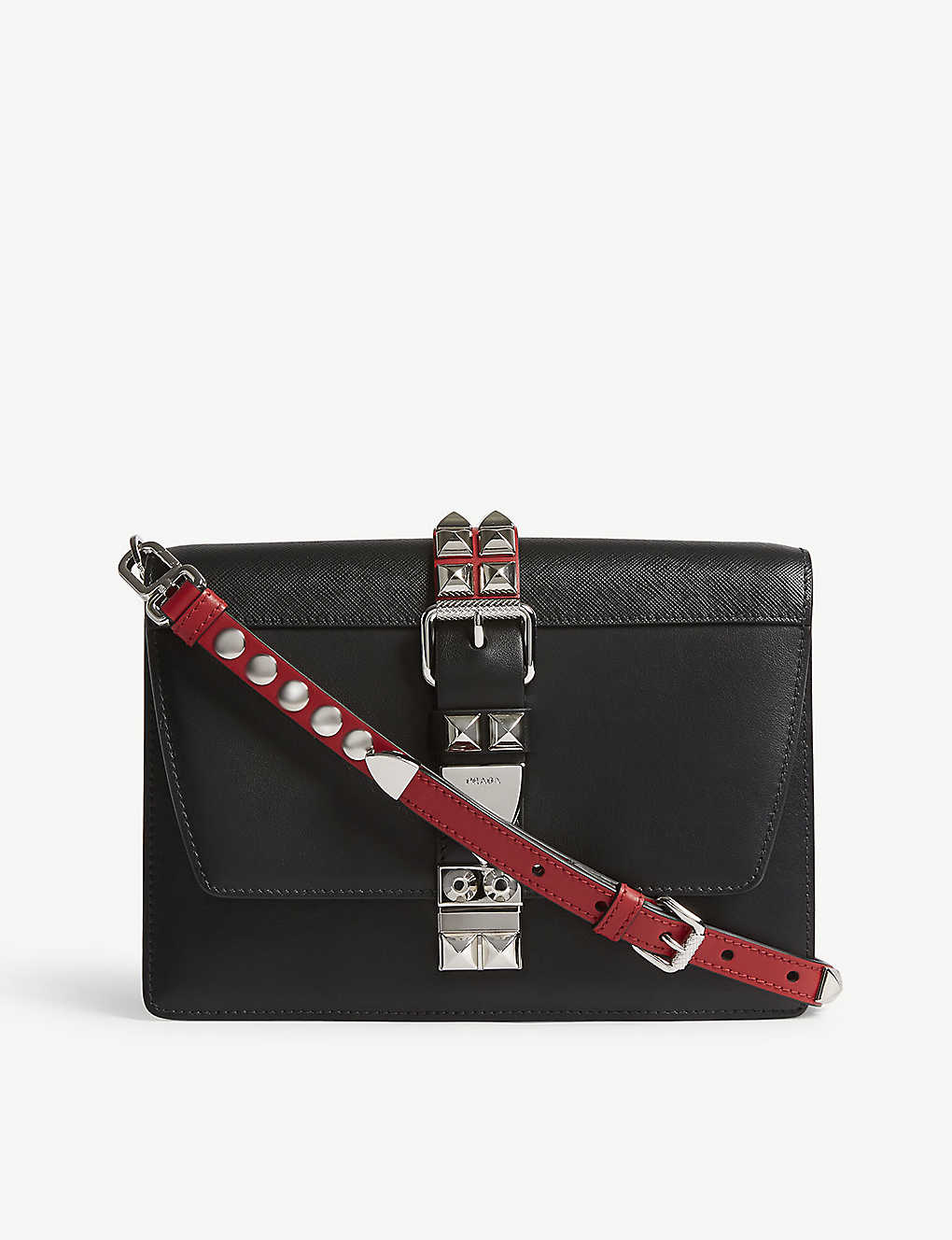 a388c99fea3e5b PRADA - Elektra studded medium leather shoulder bag | Selfridges.com
