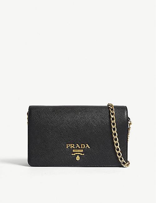 f9f14f2bf56d PRADA - Core Saffiano leather wallet-on-chain | Selfridges.com