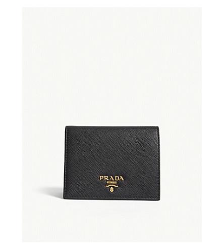 836bb273c4 PRADA Logo small Saffiano leather purse (Black