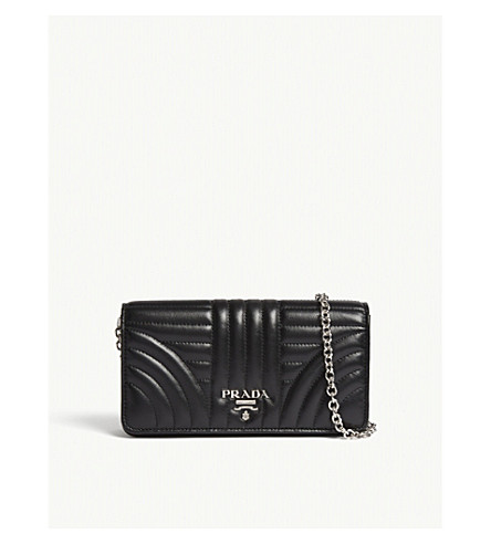 6386fd5abe77 PRADA - Quilted leather wallet-on-chain