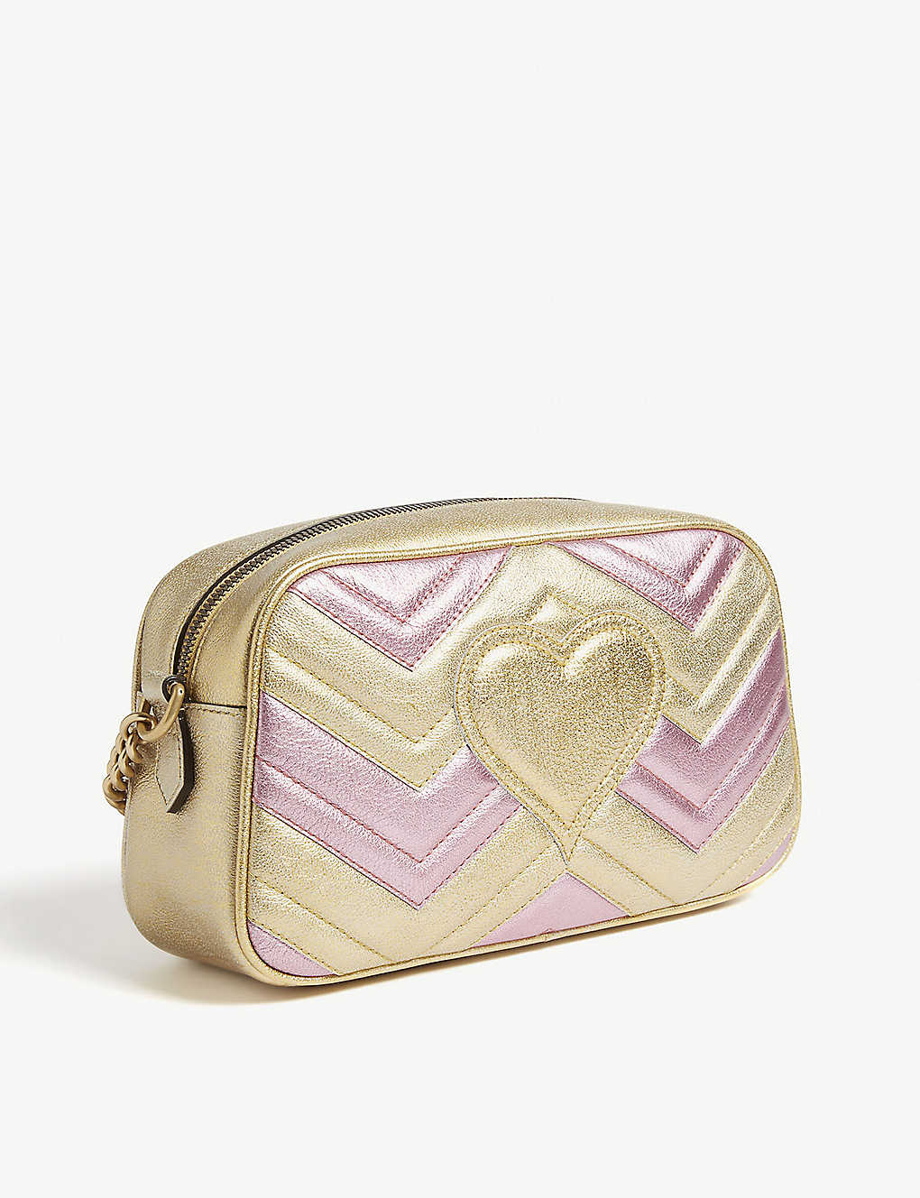 e9947c3a83f ... GG Marmont metallic quilted leather shoulder bag - Gold pink ...