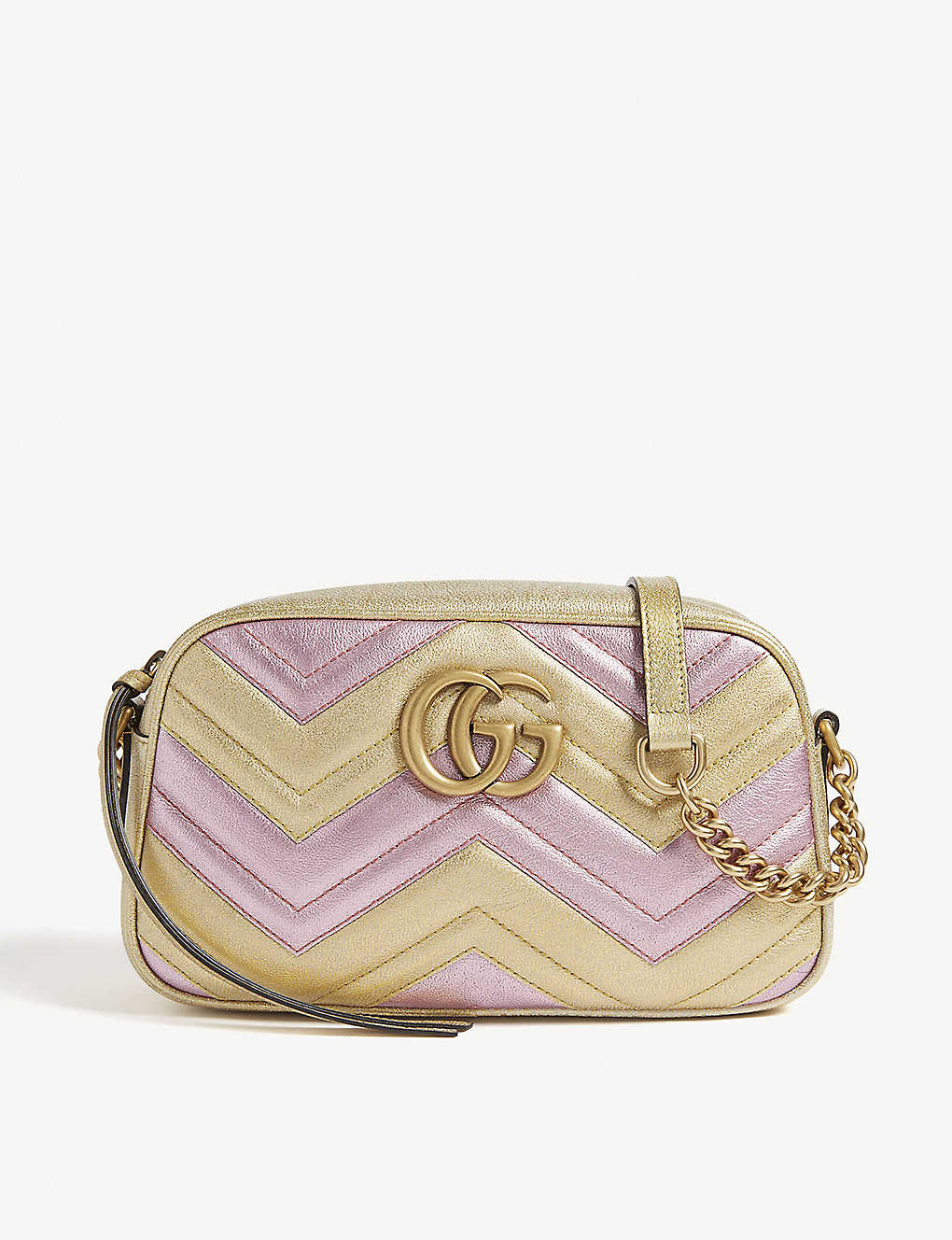727857d0c4a GG Marmont metallic quilted leather shoulder bag - Gold pink ...