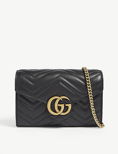 d607a599a12a1 GUCCI GG Marmont leather wallet on chain