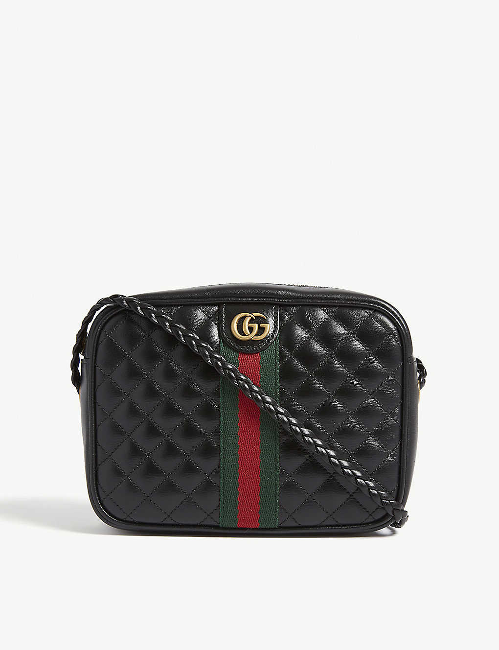 099063283735 GUCCI - Web stripe quilted leather camera bag | Selfridges.com