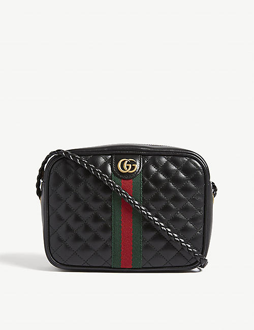 a1b7b558917 GUCCI Web stripe quilted leather camera bag