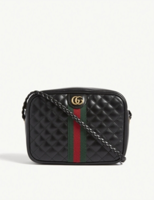 GUCCI Web stripe quilted leather camera bag