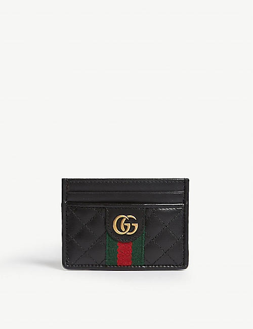 1a518ed142bbe GUCCI Logo quilted leather card holder