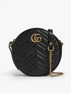 GUCCI Marmont round leather quilted camera bag