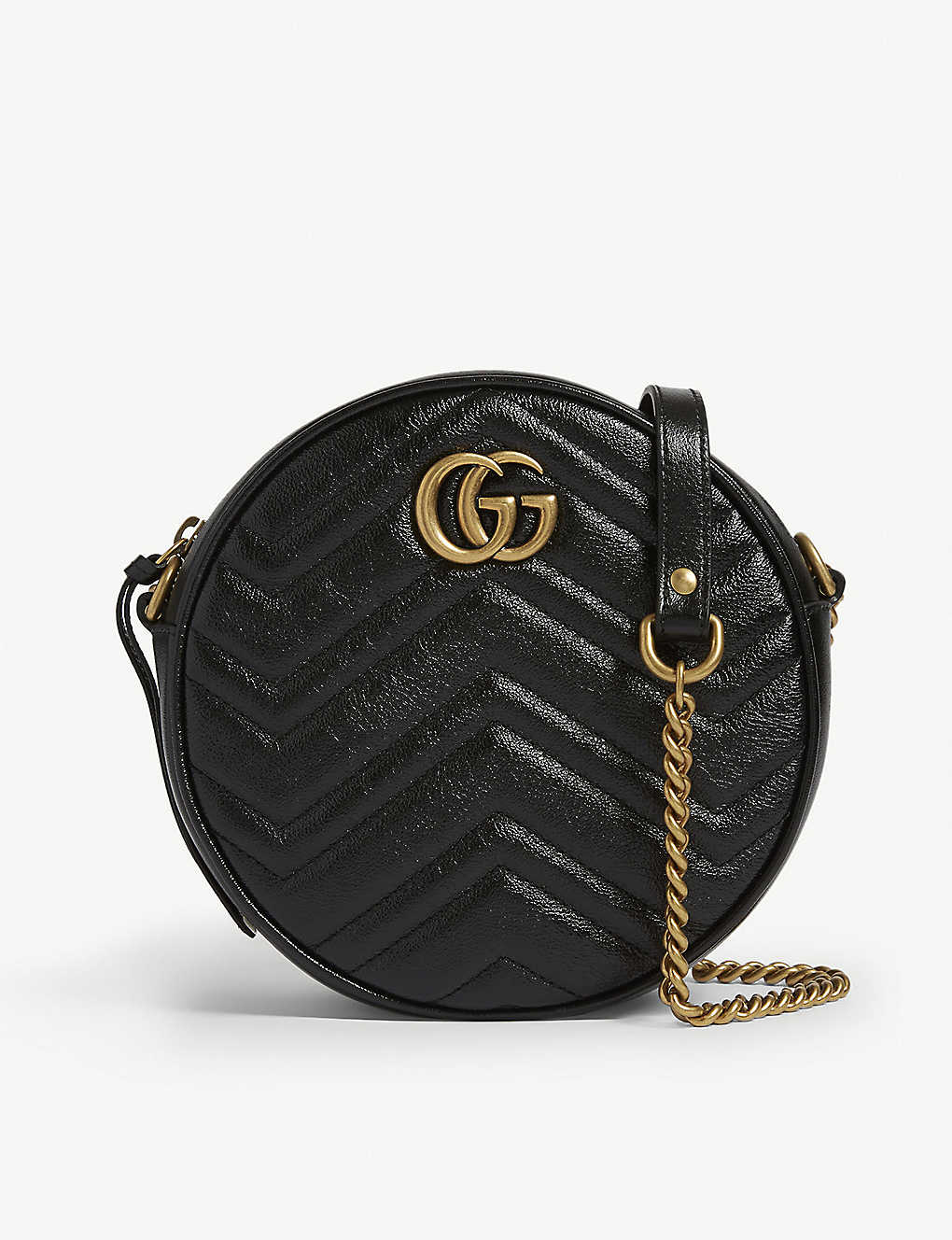 GUCCI: Marmont round leather quilted camera bag