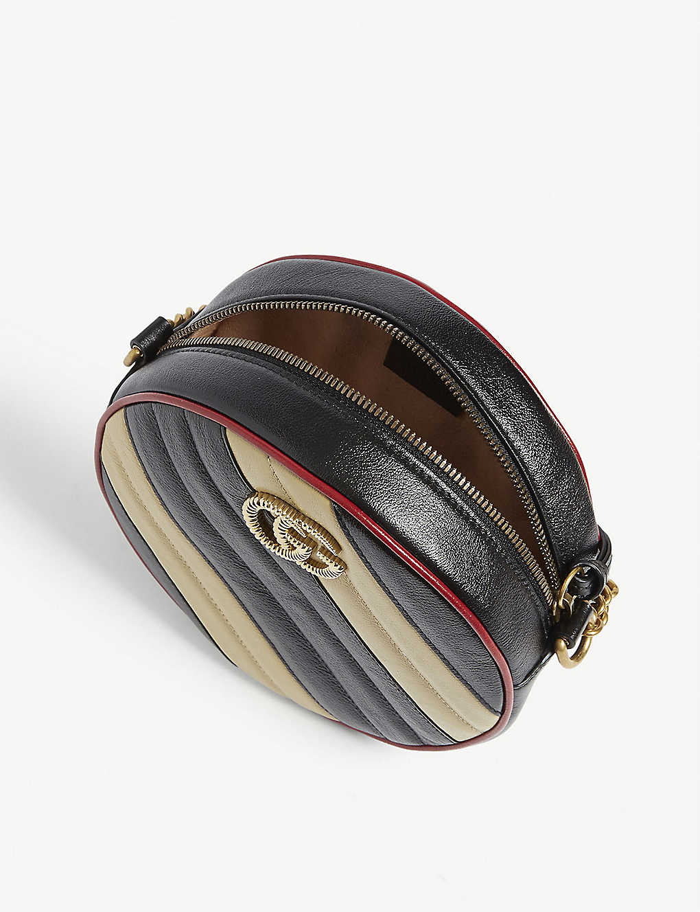 7457ff990 ... GG Marmont mini leather shoulder bag - Nero diagonal beige zoom